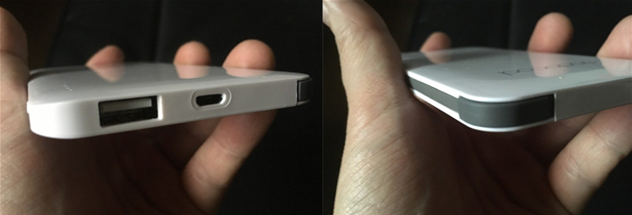 モバイルバッテリー 下USBポート1、横付属のライトニングケーブル内蔵