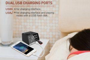 LED Display Dual Alarm Clock 充電